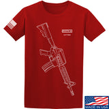 Fitty% USA Gun - Colt M733 T-Shirt T-Shirts Small / Red by Ballistic Ink - Made in America USA