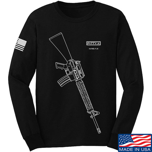 Fitty% USA Gun - M16A4 Long Sleeve T-Shirt Long Sleeve Small / Black by Ballistic Ink - Made in America USA