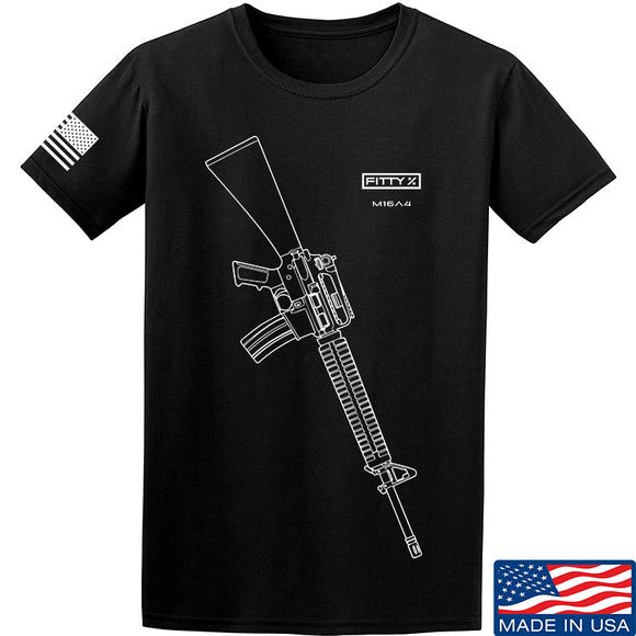 Fitty% USA Gun - M16A4 T-Shirt T-Shirts Small / Black by Ballistic Ink - Made in America USA