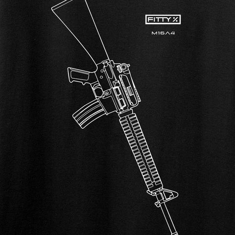 Fitty% USA Gun - M16A4 Long Sleeve T-Shirt Long Sleeve [variant_title] by Ballistic Ink - Made in America USA