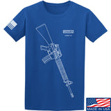 Fitty% USA Gun - M16A4 T-Shirt T-Shirts Small / Blue by Ballistic Ink - Made in America USA