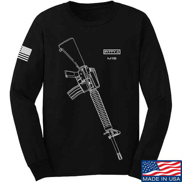 Fitty% USA Gun - M16 Long Sleeve T-Shirt Long Sleeve Small / Black by Ballistic Ink - Made in America USA