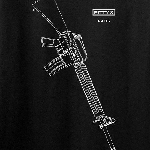 Fitty% USA Gun - M16 Long Sleeve T-Shirt Long Sleeve [variant_title] by Ballistic Ink - Made in America USA