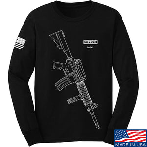 Fitty% USA Gun - M4 Long Sleeve T-Shirt Long Sleeve Small / Black by Ballistic Ink - Made in America USA