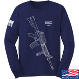 Fitty% USA Gun - M4 Long Sleeve T-Shirt Long Sleeve Small / Navy by Ballistic Ink - Made in America USA