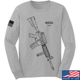 Fitty% USA Gun - M4 Long Sleeve T-Shirt Long Sleeve Small / Light Grey by Ballistic Ink - Made in America USA