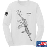 Fitty% USA Gun - M4 Long Sleeve T-Shirt Long Sleeve Small / White by Ballistic Ink - Made in America USA