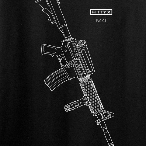 Fitty% USA Gun - M4 Long Sleeve T-Shirt Long Sleeve [variant_title] by Ballistic Ink - Made in America USA