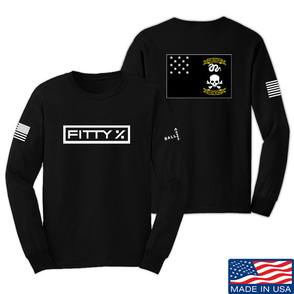 Fitty% Veterans Exempt Long Sleeve T-Shirt Long Sleeve Small / Black by Ballistic Ink - Made in America USA