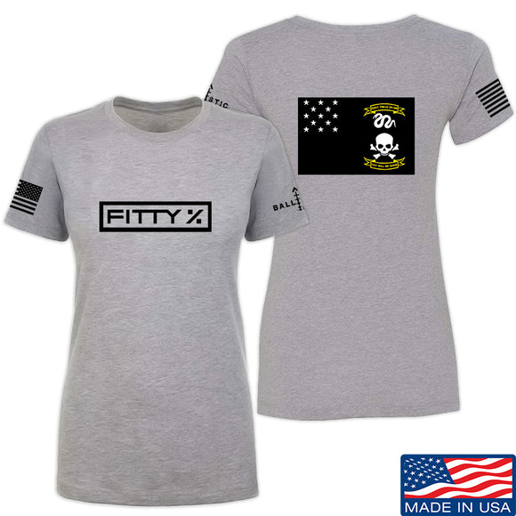 Fitty% Ladies Veterans Exempt T-Shirt T-Shirts SMALL / Light Grey by Ballistic Ink - Made in America USA