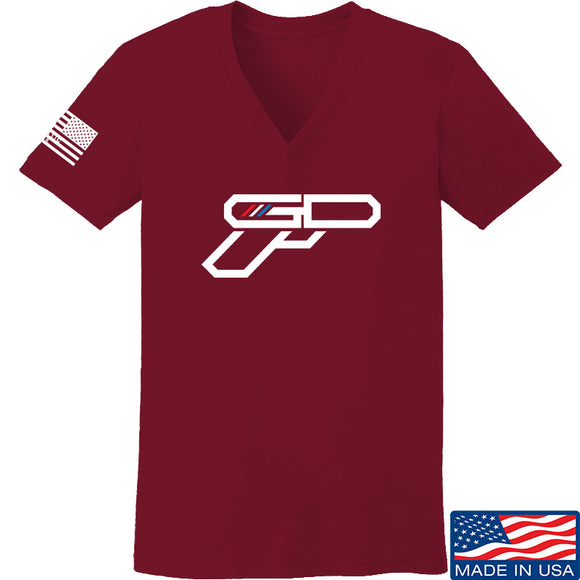 Ladies Gunsdaily Full Gun Logo V-Neck