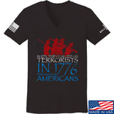 IV8888 Ladies 1773 vs 1776 V-Neck T-Shirts, V-Neck SMALL / Black by Ballistic Ink - Made in America USA