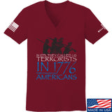 IV8888 Ladies 1773 vs 1776 V-Neck T-Shirts, V-Neck SMALL / Cranberry by Ballistic Ink - Made in America USA