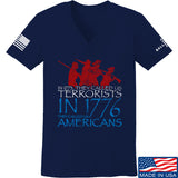 IV8888 Ladies 1773 vs 1776 V-Neck T-Shirts, V-Neck SMALL / Navy by Ballistic Ink - Made in America USA