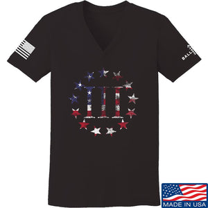 IV8888 Ladies Three Percenter V-Neck T-Shirts, V-Neck SMALL / Navy by Ballistic Ink - Made in America USA