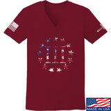 IV8888 Ladies Three Percenter V-Neck T-Shirts, V-Neck SMALL / Cranberry by Ballistic Ink - Made in America USA