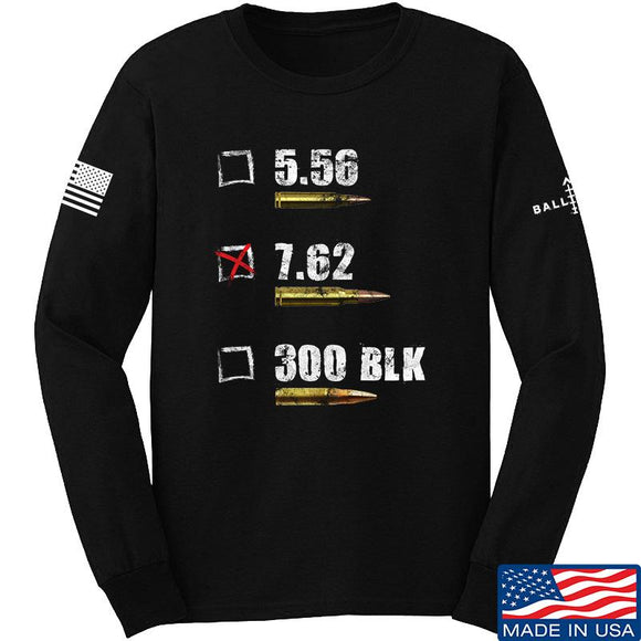 IV8888 7.62 Long Sleeve T-Shirt Long Sleeve Small / Black by Ballistic Ink - Made in America USA