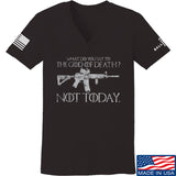 IV8888 Ladies AR15 Not Today V-Neck T-Shirts, V-Neck SMALL / Black by Ballistic Ink - Made in America USA