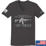 IV8888 Ladies AR15 Not Today V-Neck T-Shirts, V-Neck SMALL / Charcoal by Ballistic Ink - Made in America USA