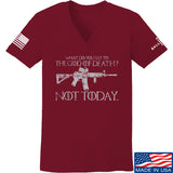 IV8888 Ladies AR15 Not Today V-Neck T-Shirts, V-Neck SMALL / Cranberry by Ballistic Ink - Made in America USA