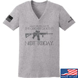 IV8888 Ladies AR15 Not Today V-Neck T-Shirts, V-Neck SMALL / Light Grey by Ballistic Ink - Made in America USA
