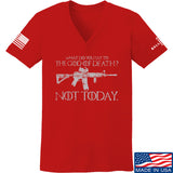 IV8888 Ladies AR15 Not Today V-Neck T-Shirts, V-Neck SMALL / Red by Ballistic Ink - Made in America USA