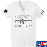 IV8888 Ladies AR15 Not Today V-Neck T-Shirts, V-Neck SMALL / White by Ballistic Ink - Made in America USA