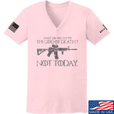 IV8888 Ladies AR15 Not Today V-Neck T-Shirts, V-Neck SMALL / Light Pink by Ballistic Ink - Made in America USA