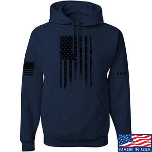 IV8888 Distressed Black Flag Hoodie Hoodies Small / Charcoal by Ballistic Ink - Made in America USA