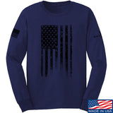 IV8888 Distressed Black Flag Long Sleeve T-Shirt Long Sleeve Small / Navy by Ballistic Ink - Made in America USA