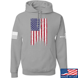 IV8888 Distressed Flag Hoodie Hoodies Small / Charcoal by Ballistic Ink - Made in America USA