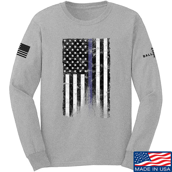 IV8888 Thin Blue Line Long Sleeve T-Shirt Long Sleeve Small / Light Grey by Ballistic Ink - Made in America USA