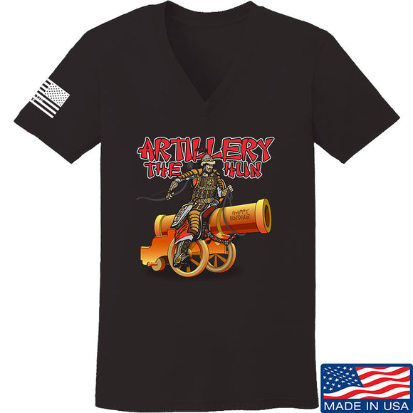 IV8888 Ladies Artillery the Hun V-Neck T-Shirts, V-Neck SMALL / Black by Ballistic Ink - Made in America USA