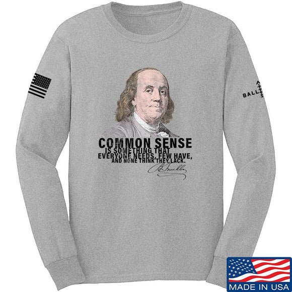 IV8888 Benjamin Franklin Common Sense Long Sleeve T-Shirt Long Sleeve Small / Light Grey by Ballistic Ink - Made in America USA