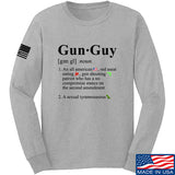 IV8888 Gun Guy Long Sleeve T-Shirt Long Sleeve Small / Light Grey by Ballistic Ink - Made in America USA