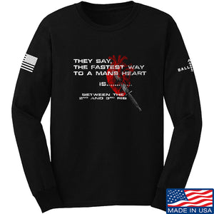 IV8888 Fastest Way to a Man's Heart Long Sleeve T-Shirt Long Sleeve Small / Light Grey by Ballistic Ink - Made in America USA