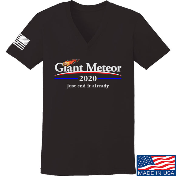 IV8888 Ladies Giant Meteor 2020 V-Neck T-Shirts, V-Neck SMALL / Black by Ballistic Ink - Made in America USA