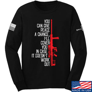 IV8888 Give Peace A Chance Long Sleeve T-Shirt Long Sleeve Small / Light Grey by Ballistic Ink - Made in America USA