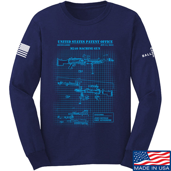 IV8888 M240 Machine Gun Specs Long Sleeve T-Shirt Long Sleeve Small / Navy by Ballistic Ink - Made in America USA