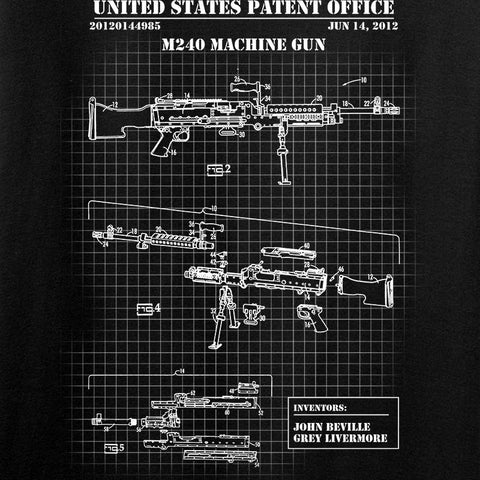 IV8888 M240 Machine Gun Specs Long Sleeve T-Shirt Long Sleeve [variant_title] by Ballistic Ink - Made in America USA
