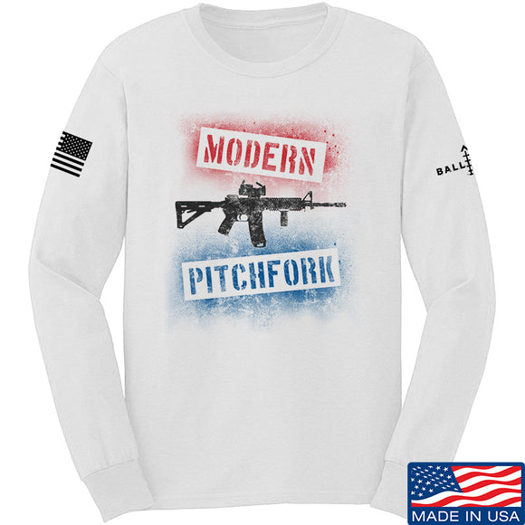 IV8888 Modern Pitchfork Long Sleeve T-Shirt Long Sleeve Small / White by Ballistic Ink - Made in America USA