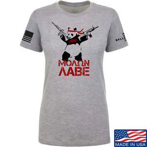 IV8888 Ladies Molon Labe Panda T-Shirt T-Shirts SMALL / Light Grey by Ballistic Ink - Made in America USA