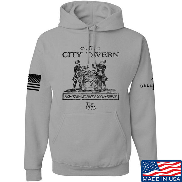 IV8888 Founding Fathers' City Tavern Signage Hoodie Hoodies Small / Light Grey by Ballistic Ink - Made in America USA