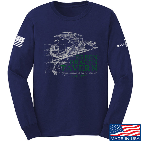 IV8888 Green Dragon Tavern Signage Long Sleeve T-Shirt Long Sleeve Small / Navy by Ballistic Ink - Made in America USA