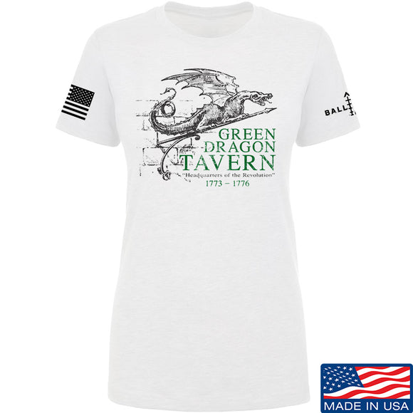 IV8888 Ladies Green Dragon Tavern Signage T-Shirt T-Shirts SMALL / White by Ballistic Ink - Made in America USA
