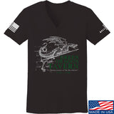 IV8888 Ladies Green Dragon Tavern Signage V-Neck T-Shirts, V-Neck SMALL / Black by Ballistic Ink - Made in America USA