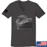 IV8888 Ladies Green Dragon Tavern Signage V-Neck T-Shirts, V-Neck SMALL / Charcoal by Ballistic Ink - Made in America USA