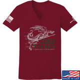 IV8888 Ladies Green Dragon Tavern Signage V-Neck T-Shirts, V-Neck SMALL / Cranberry by Ballistic Ink - Made in America USA