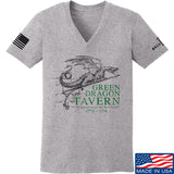 IV8888 Ladies Green Dragon Tavern Signage V-Neck T-Shirts, V-Neck SMALL / Light Grey by Ballistic Ink - Made in America USA