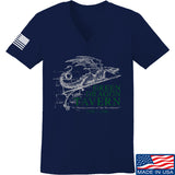 IV8888 Ladies Green Dragon Tavern Signage V-Neck T-Shirts, V-Neck SMALL / Navy by Ballistic Ink - Made in America USA